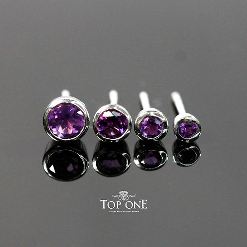 Natural African Amethyst 925 Sterling Silver Earring