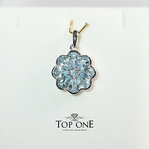 Natural Blue Topaz 925 Sterling Silver Pendant