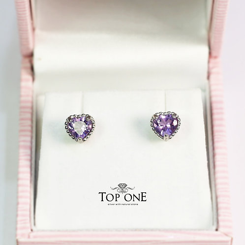 Dolce Natural Amethyst 925 Sterling Silver Earring