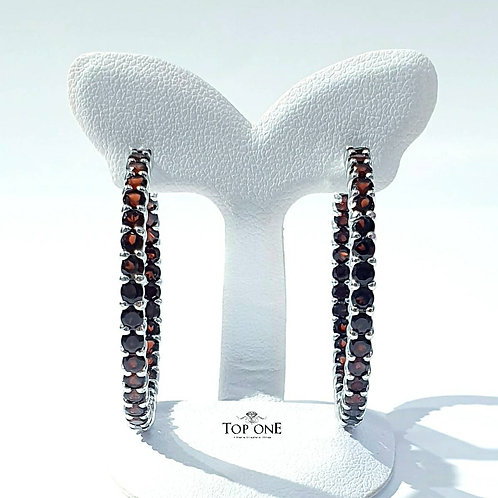 Princess Hoop Natural Garnet 925 Sterling Silver Earring