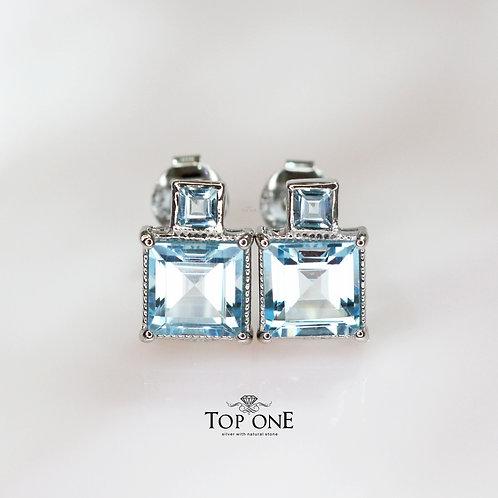 Natural  Blue Topaz 925 Sterling Silver Earring