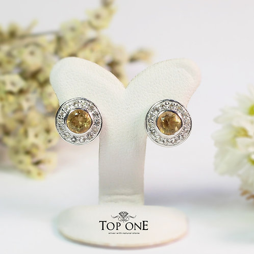 Natural Citrine  925 Sterling Silver Earring