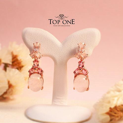 Natural Rose Quartz Pink Tourmaline 925 Sterling Silver Earring