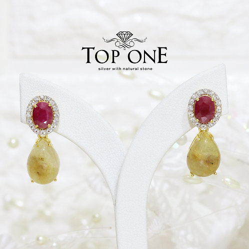Natural Golden Rutile Ruby White Topaz 925 Silver Earring