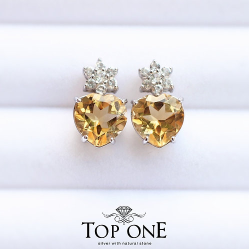 Tiara Natural Citrine 925 Sterling Silver Earring