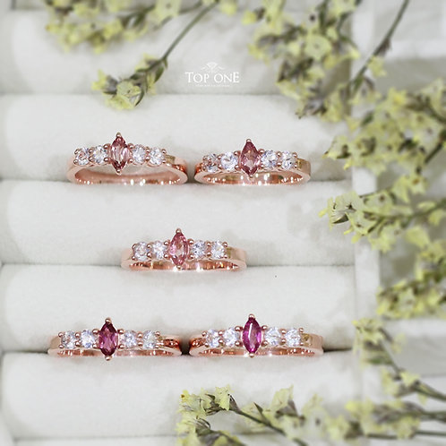 Natural Pink Tourmaline 925 Silver Ring