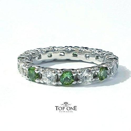 Ferris Natural Green Tourmaline White Topaz 925 Sterling Silver Ring