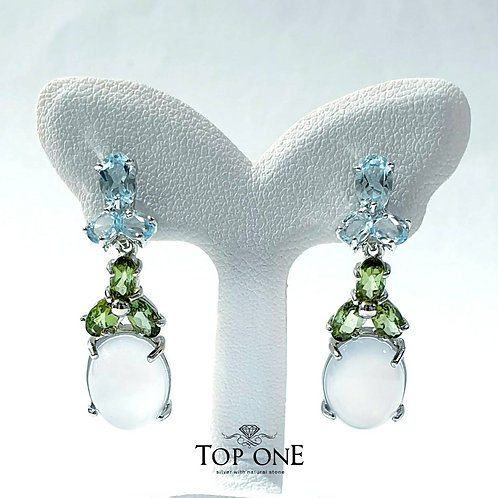 Natural Blue Chalcedony Green Tourmaline Blue Topaz 925 Sterling Silver Earring