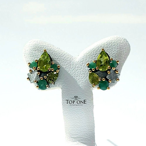 Natural Peridot Emerald White Topaz 925 Sterling Silver Earring