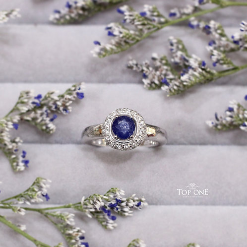 Natural Blue Sapphire White Topaz 925 Sterling Silver Ring