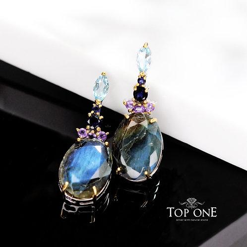 Natural Labradorite, Blue Topaz 925 Sterling Silver Earring