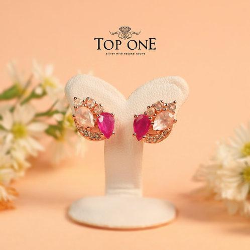 Natural Ruby Rose Quartz 925 Sterling Silver Earring