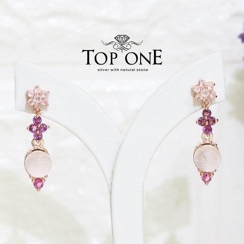 Natural Rose Quartz Rhodolite Pink Tourmaline 925 Silver Earring