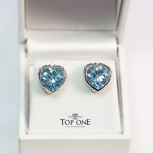 Bella Natural Blue Topaz 925 Sterling Silver Earring