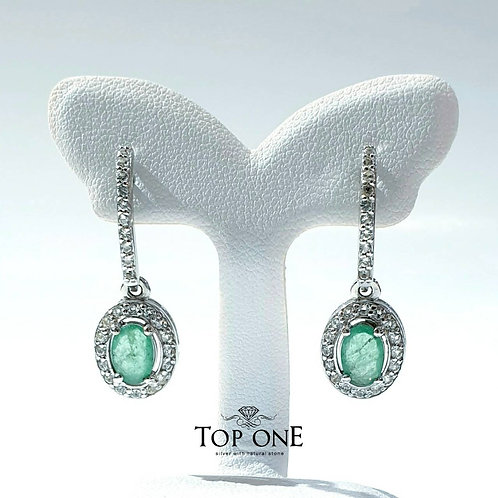 Natural Emerald 925 Sterling Silver Earring