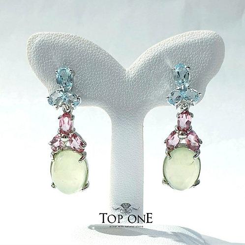 Natural Prehnite Pink Tourmaline Blue Topaz 925 Sterling Silver Earring