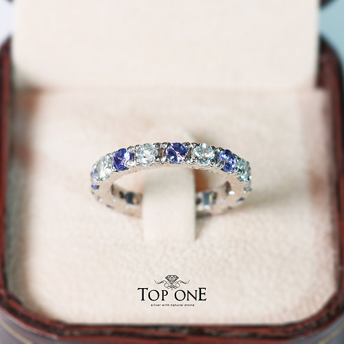Ferris Natural Tanzanite White Topaz 925 Sterling Silver Ring