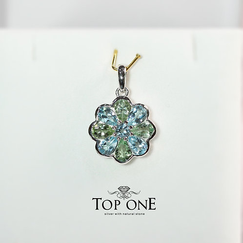 Natural Sky Blue Topaz and Green Tourmaline 925 Sterling Silver Pendant