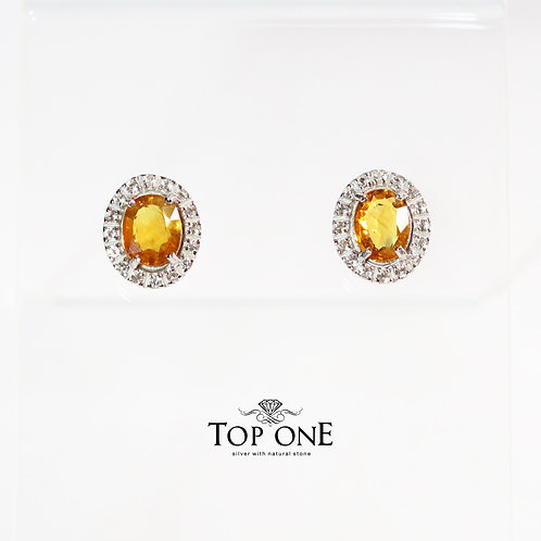 Natural Yellow Sapphire  925 Sterling Silver Earring