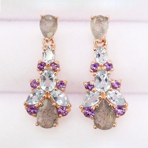 Natural Labradorite Blue Topaz Amethyst 925 Silver Earring