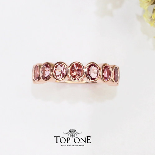 Radiant Natural Pink Tourmaline 925 Sterling Silver Ring