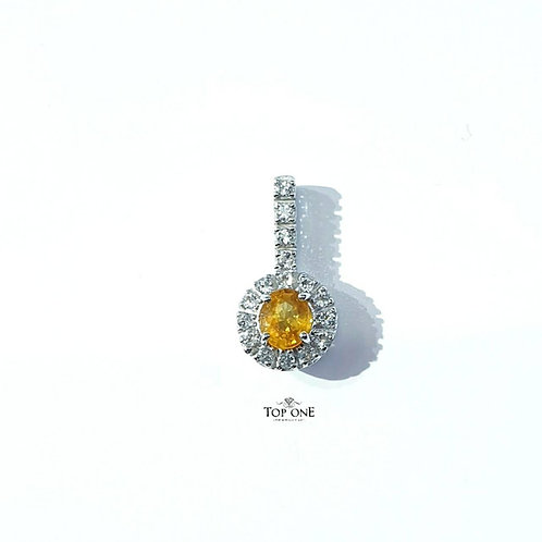 Natural Yellow Sapphire White Topaz 925 Sterling Silver Pendant