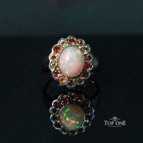 Natural Opal 925 Sterling Silver Ring