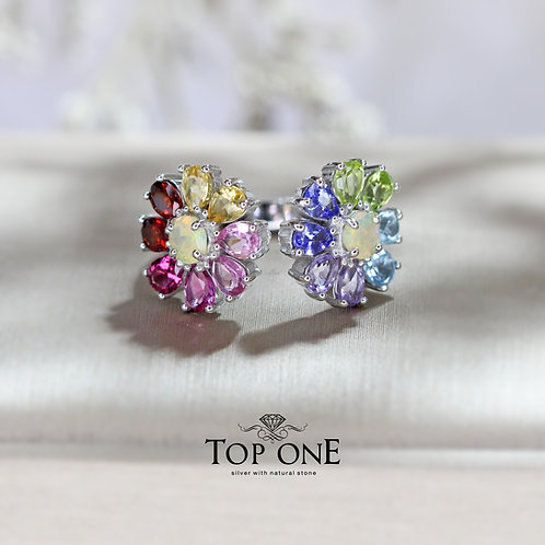 Daisy Natural Multi Colour 925 Sterling Silver Ring