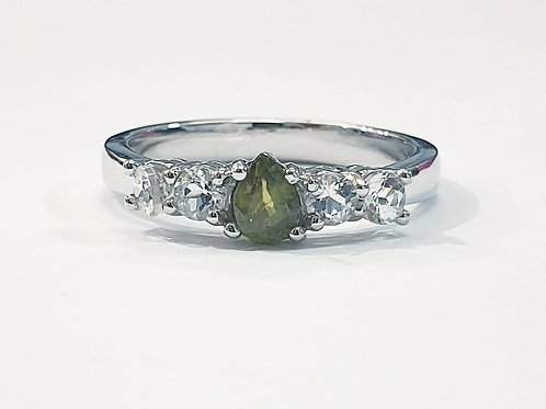 Natural Green Sapphire White Topaz 925 Sterling Silver Ring
