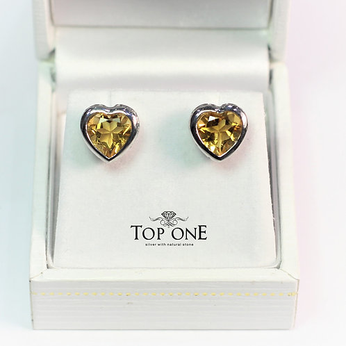 Amore Citrine 925 Sterling Silver Earring