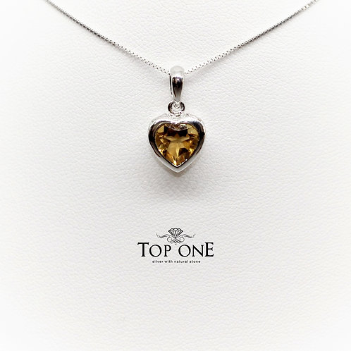 Amore Citrine 925 Sterling Silver Pendant