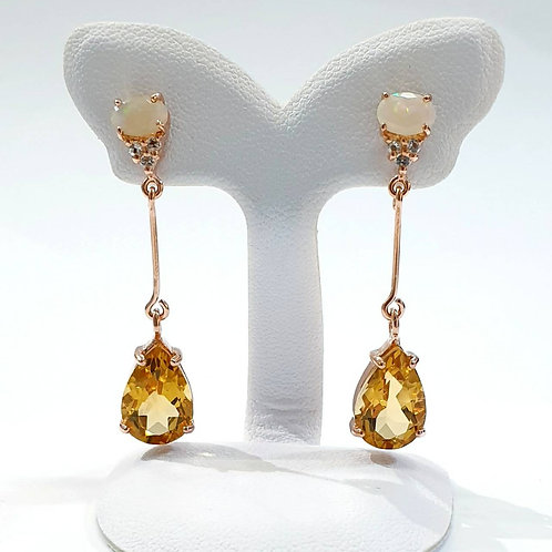 Natural Citrine Opal 925 Sterling Silver Earring