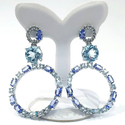 Natural Tanzanite Blue Topaz White Topaz 925 Sterling Silver Earring