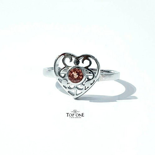 Natural Orange Sapphire 925 Sterling Silver Ring