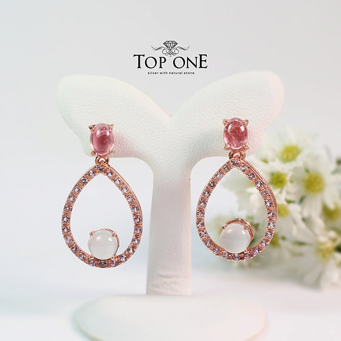 Natural Pink Tourmaline , Chalcedony, Amethyst  925 Sterling Silver Earring