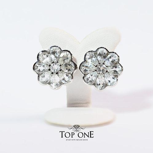 Natural White Topaz 925 Sterling Silver Earring