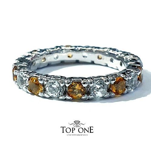 Ferris Natural Yellow Tourmaline White Topaz 925 Sterling Silํver Ring
