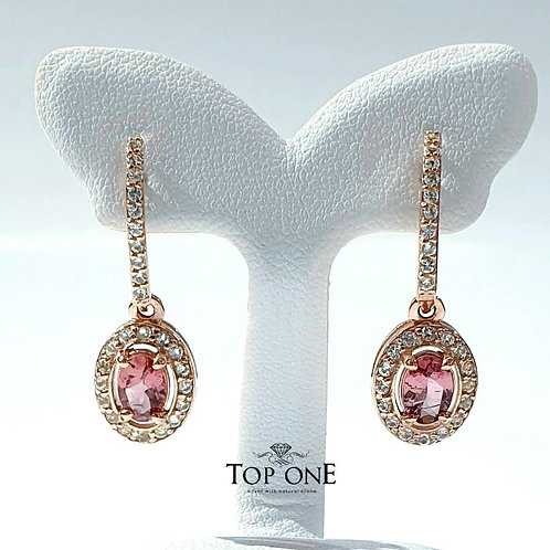 Natural Pink Tourmaline 925 Sterling Silver Earring