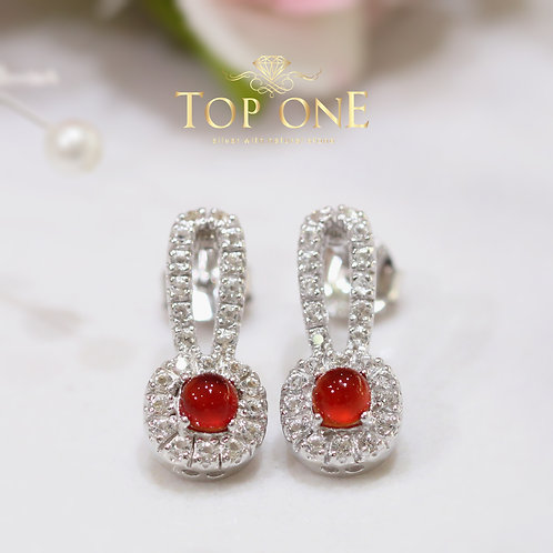 Bunny Natural Red Agate 925 Sterling Silver Earring