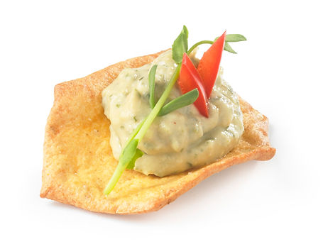 Milton's Gluten Free Cheddar Cheese Crackers with tangy artichoke hummus and diced red peppers