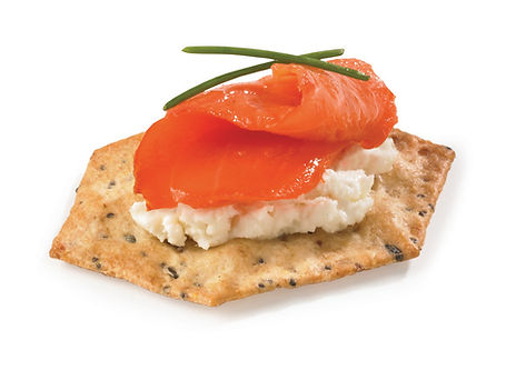 Milton's Gluten Free Everything Crackers with cream cheese and smoked salmon, and dill