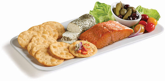 Milton's Organic Himalayan Salt Cracker platter served with smoked salmon and herbed goat cheese.