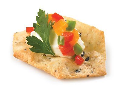 Milton's Gluten Free Multi-Grain Crackers with creamy Mascarpone and sweet diced peppers