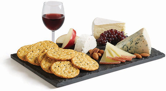 Milton's Organic Multi-Grain Cracker platter with sliced apples, grapes & assorted gourmet cheeses