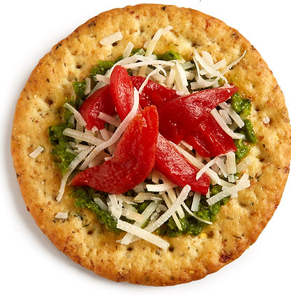 Milton's Gourmet Garlic & Herb Crackers layered with fresh basil pesto, Gruyére cheese and roasted red peppers