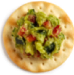 Milton's Gourmet Crispy Sea Salt Crackers paired with authentic Guasacaca (fresh avacado, chopped cilantro, diced tomatoes, onion & poblano pepper)