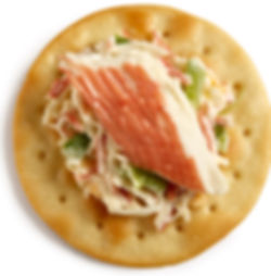 Milton's Gourmet Crispy Sea Salt Crackers topped with chilled creamy crab mixed salad
