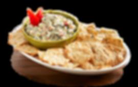 Miltons Gluten Free Sea Salt & Everything Cracker platter with fresh spinach & artichoke dip