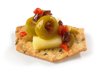 Milton's Gluten Free Everything Crackers with Gruére cheese & briny olive tapenade
