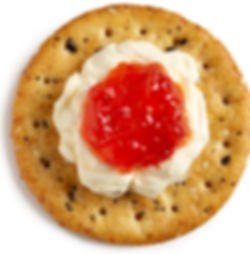Milton's Gourmet Multi-Grain Crackers with wipped Mascarpone cheese and red pepper jelly